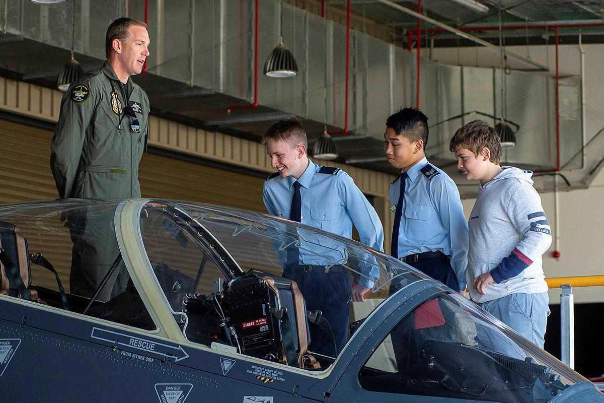 Australian Air Force Cadets met with serving Air Force personnel during a visit to RAAF Base Pearce. Photo: Sergeant Gary Dixon