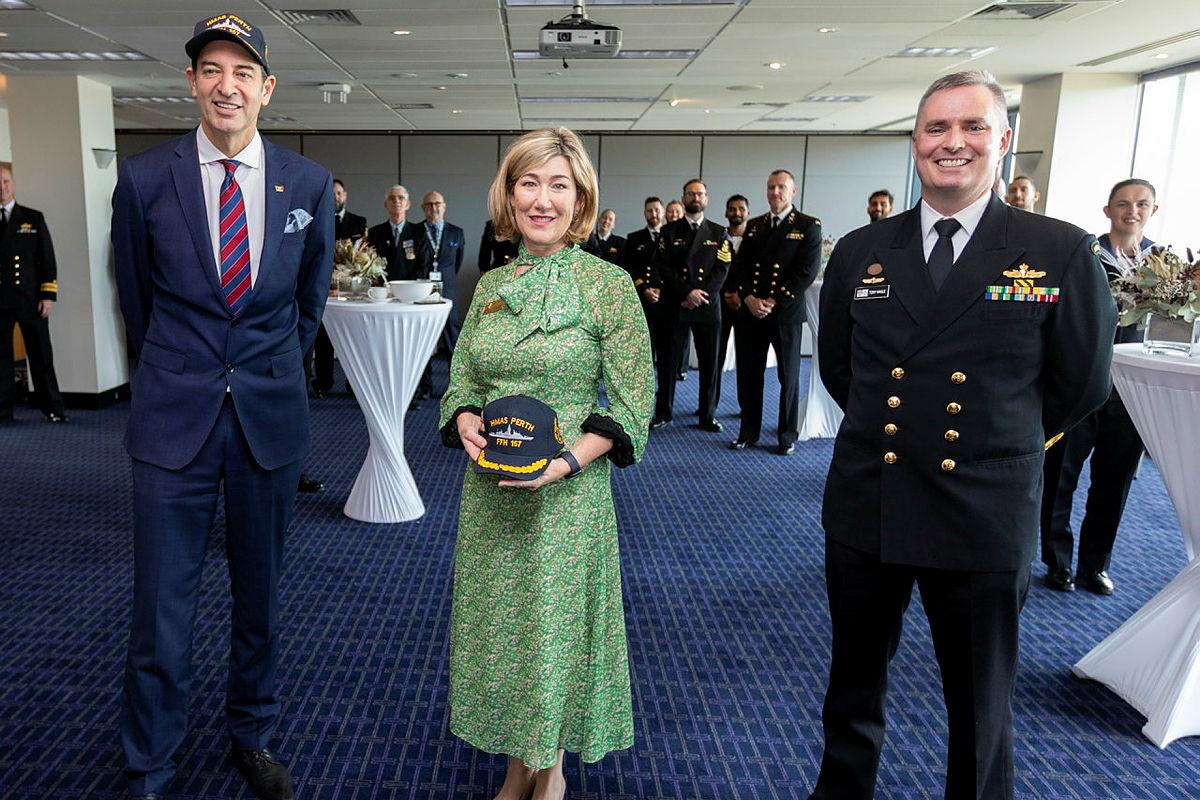 Lord Mayor of Perth Basil Zempilas, left, City of Perth CEO Michelle Reynolds and Commanding Officer HMAS Perth Commander Anthony Nagle at Council House in Perth. Photo: Leading Seaman Ronnie Baltoft