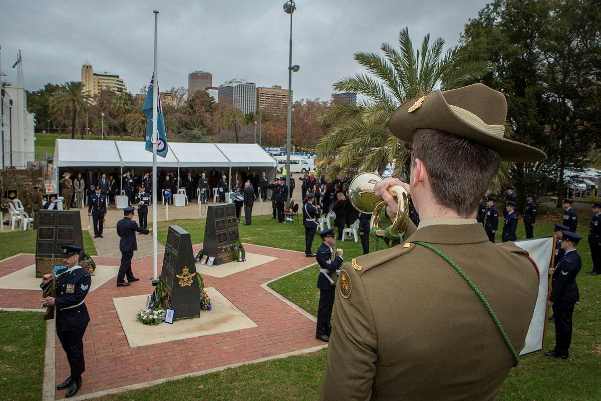 Musician Will Madden plays the Last post at the 79th Anniversary Commemoration Ceremony of Bomber Command held at the Air Force Memorial, Torrens Parade Ground in Adelaide. Photo: Sergeant Murray Staff