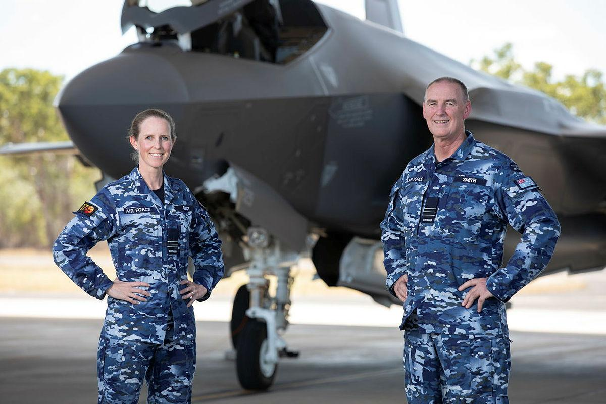 Senior Australian Defence Force Officer of RAAF Base Tindal Wing Commander Shane Smith, right, with Air Base Executive Officer, Squadron Leader Lauren Guest and the F-35A Lightning II at Tindal. Photo: Leading Aircraftman Stewart Gould