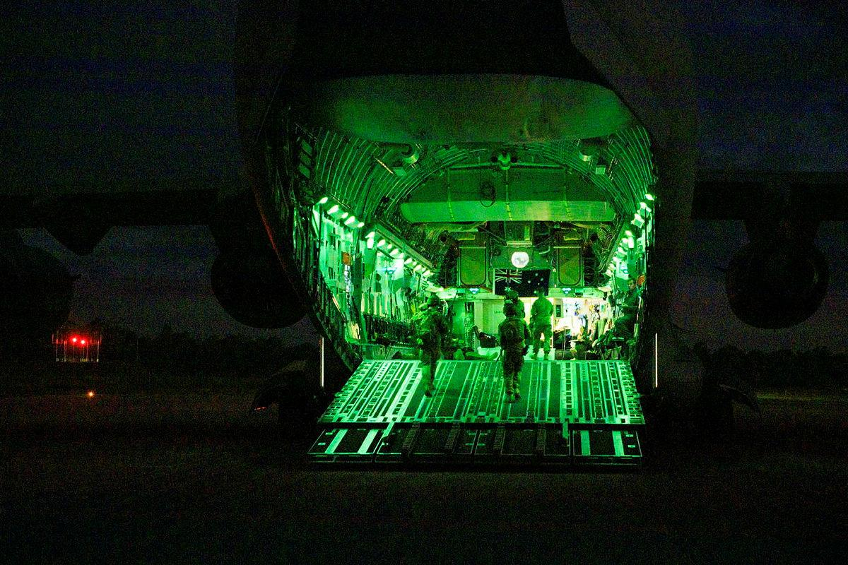 An Air Force aircraft security operations team on the ramp of a C-17A Globemaster III at RAAF Base Amberley during Exercise Precision Gauntlet. Photo: Corporal Brett Sherriff