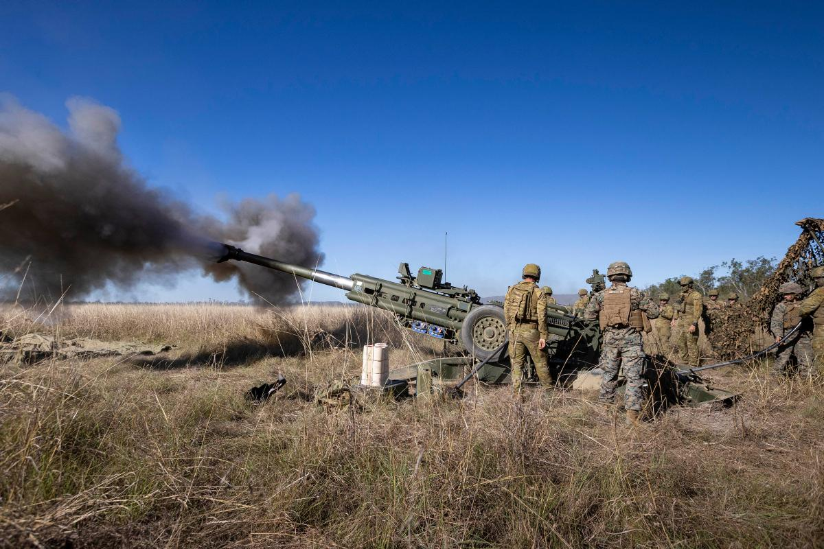 Royal Australian Artillery and the United States Marine Corps fires an Australian M777 Howitzer at Shoalwater Bay Training Area, QLD during TS21. Photo: Corporal Jarrod McAneney