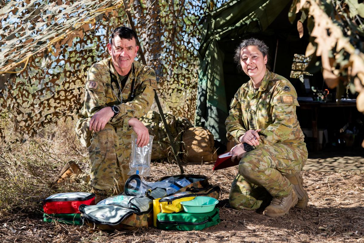 Australian Army veterinarian officer Major Kendall Crocker and veterinary assistant Private Lianne Salerno, at the Townsville Field Training Area in QLD, on TS21. Photo: LACW Emma Schwenke