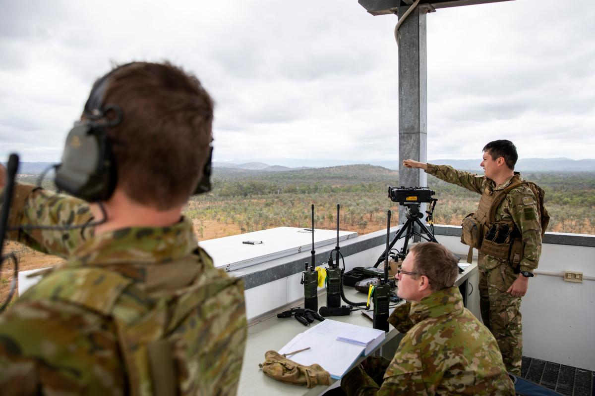 Australian Army Joint Terminal Attack Controllers and New Zealand Army personnel confirm target coordinates while conducting training serials at the Townsville Field Training Area in QLD, during Exercise Talisman Sabre 2021. Photo: LACW Emma Schwenke