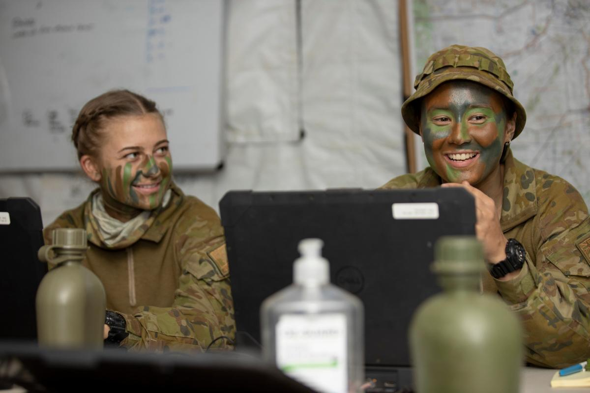 Australian Army soldier Corporal Rhian Mears (right) from Headquarters 3rd Brigade is deployed as a command support clerk to Townsville field training area, Queensland, during Exercise Talisman Sabre 2021. Photo: Corporal Brandon Grey