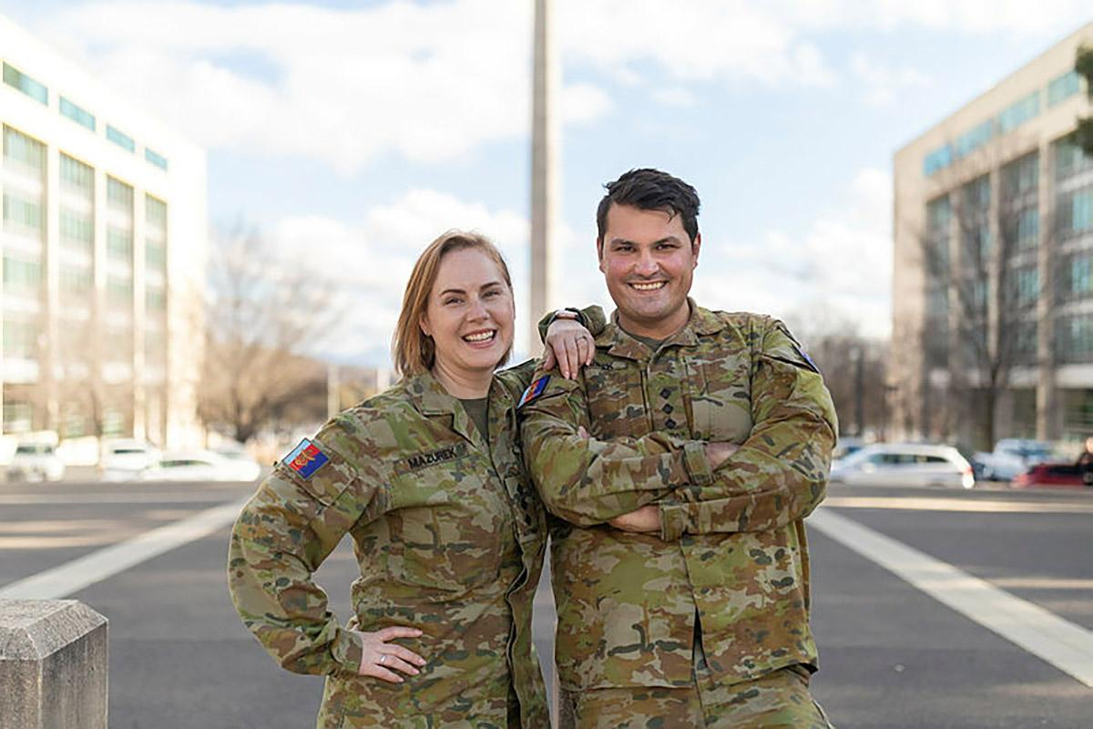 Australian Army public affairs officers, and married couple, Captains Karyn and Dan Mazurek in Canberra. Photo: Jay Cronan