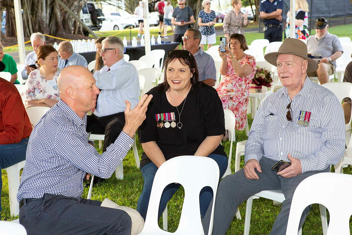Representing the families of crew members of Catalina A24-50 at the Cairns memorial service are Greg Oliver, left, with Deanne Lawrence and Melville Lawson. Photo: Warrant Officer Ian Gosper