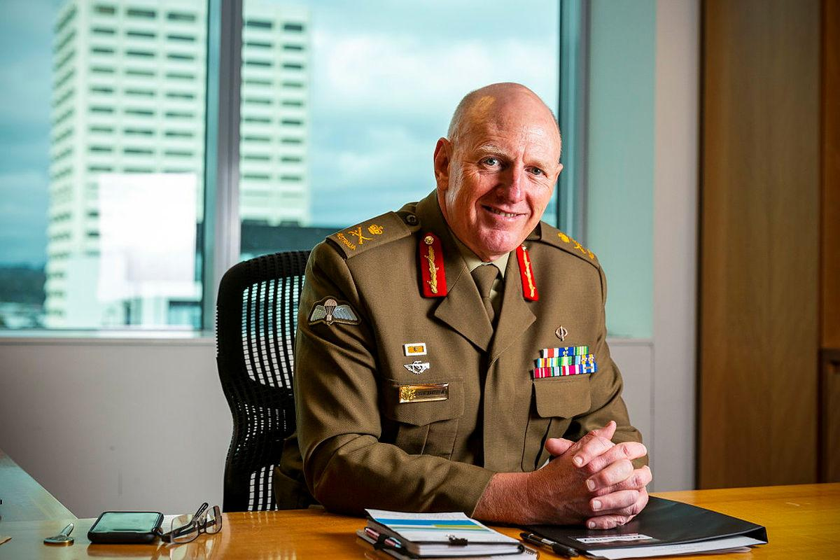 Coordinator General of Operation COVID Shield Lieutenant General John Frewen sits in his office at the Department of Health's Scarborough House, Canberra. Photo: Sergeant Sebastian Beurich
