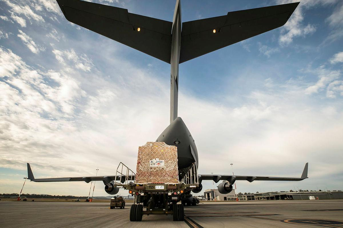 Humanitarian aid equipment is loaded into a No. 36 Squadron C-17A Globemaster III aircraft bound for Fiji. Photo: Sergeant Ben Dempster