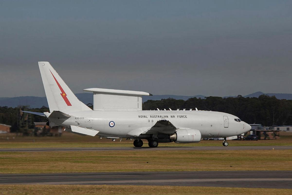 E-7A Wedgetail aircraft prepares to depart for flying operation at RAAF Base Williamtown, NSW, during Exercise Talisman Sabre. Photo: Sergeant David Gibbs