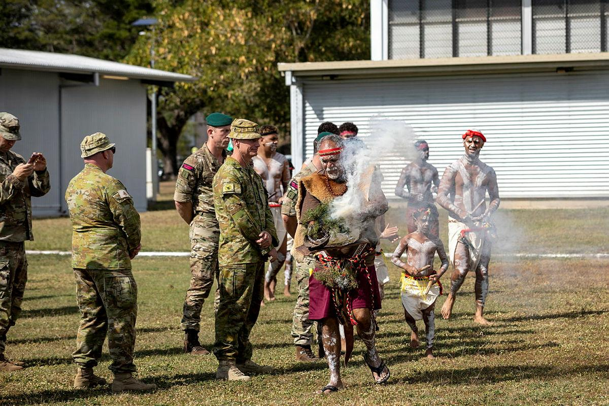 Bindal Elder Uncle Alfred Smallwood welcomes Exercise Talisman Sabre participants to country with a traditional smoking ceremony at Lavarack Barracks, Townsville. Photo: Lauren Larking