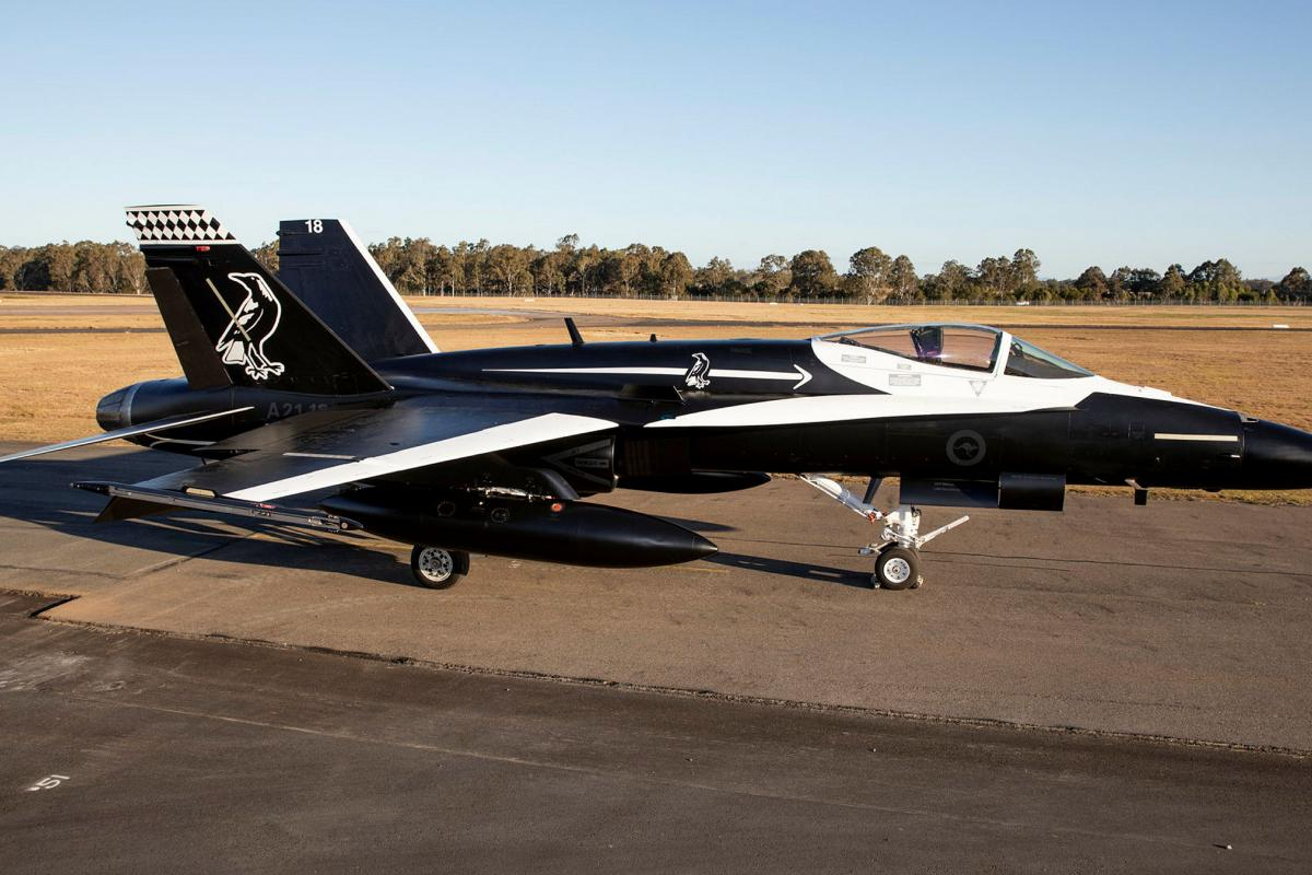 No. 75 Squadron F/A-18A Hornet A21-018 sports a bold black-and-white commemorative livery ahead of the squadron's transition to the F-35A Lightning II in 2022. Photo: Sergeant Ben Dempster