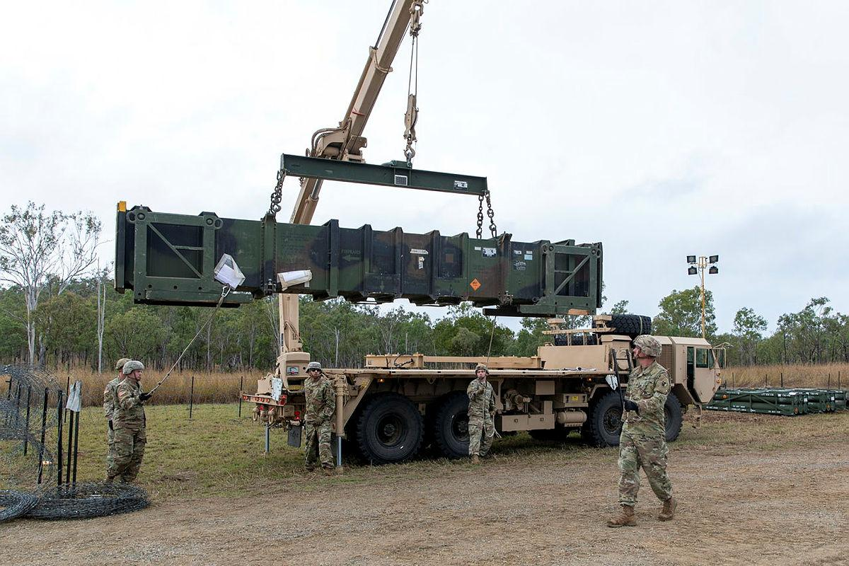 United States Army personnel load a Patriot missile on to a guided missile transporter vehicle in the lead-up to a live-fire event to be held at Shoalwater Bay in Queensland during Exercise Talisman Sabre. Photo: Private Jacob Joseph