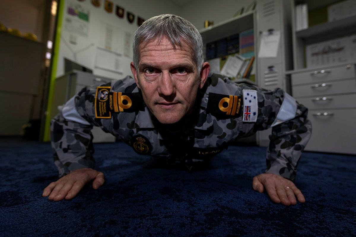 Lieutenant Shaun Logan, from Navy Engineering Systems Centre – Stirling, WA, took part in the 2021 Push-Up Challenge for mental health awareness. Photo: Leading Seaman Ronnie Baltoft