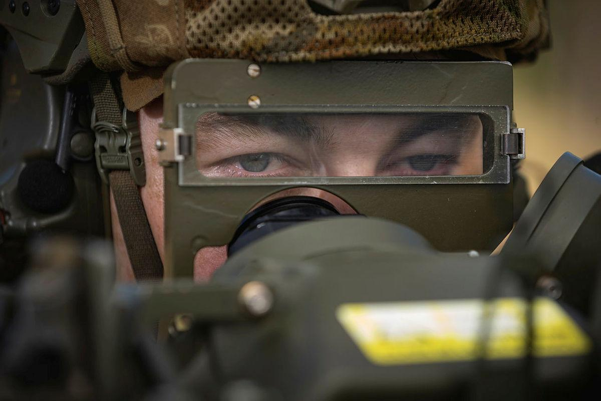 Gunner Nathan Wood, of the 16th Regiment, Royal Australian Artillery, observes a target during the RBS 70 man-portable air defence missile system training serial at the Shoalwater Bay Training Area. Photo: Corporal Madhur Chitnis