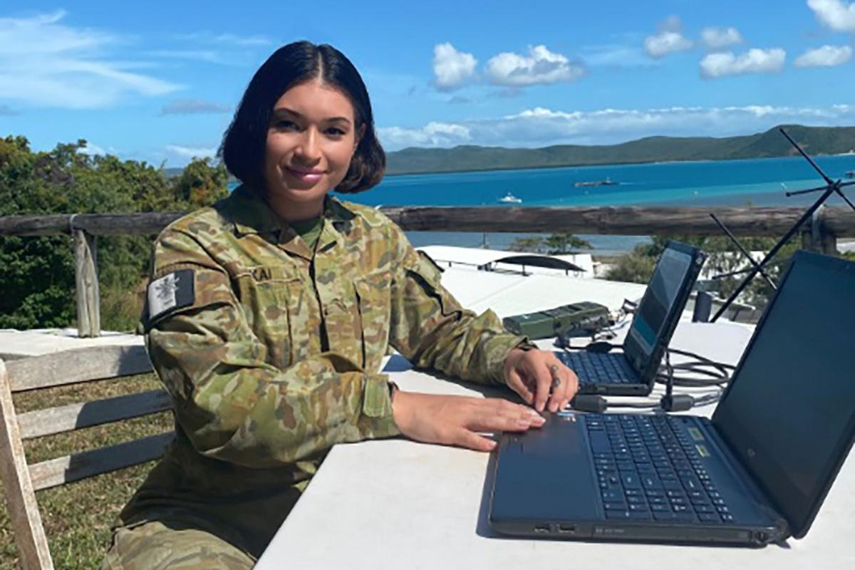 Corporal Victoria Takai at her posting to Thursday Island as a communication systems operator.