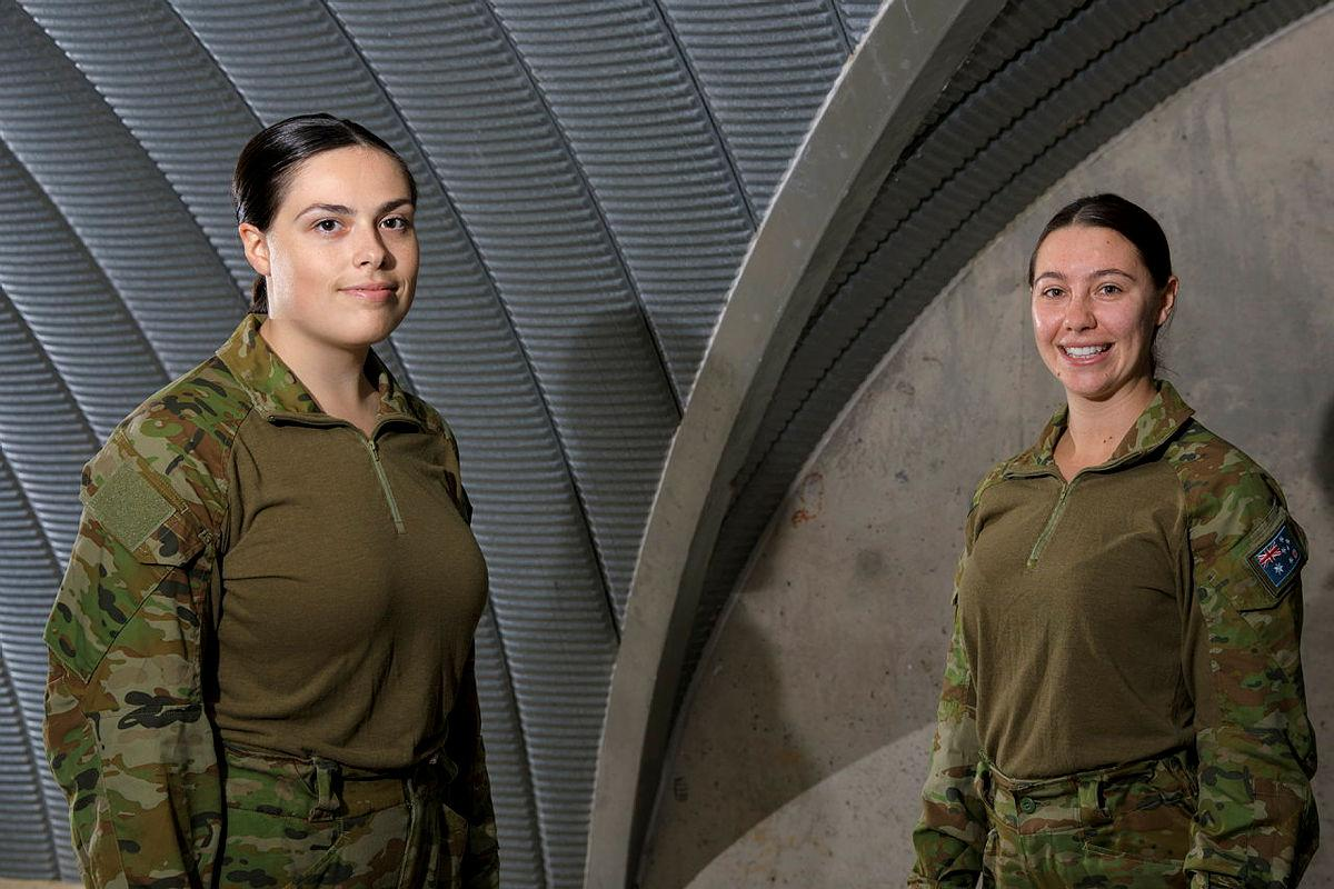 Aircraftwomen Alese Clark, left, and Maeghan Lewis inside the base command post bunker at RAAF Base Scherger. Photo: Corporal Brett Sherriff