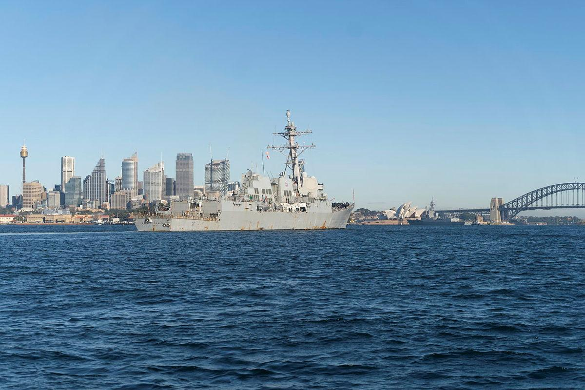 United States Navy destroyer USS Rafael Peralta enters Sydney Harbour for a COVID-Safe port visit ahead of Exercise Pacific Vanguard. Photo: Able Seaman Dafonte Fernandez