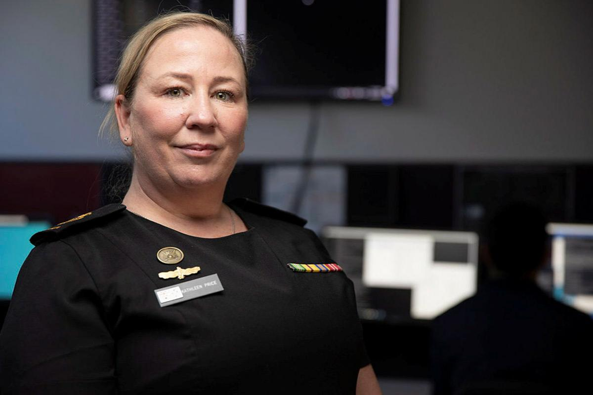Chief Petty Officer Kathleen Price is the Staff Officer Cyber Operations for the Navy's Information Warfare Branch in Canberra. Photo: Petty Officer Bradley Darvill