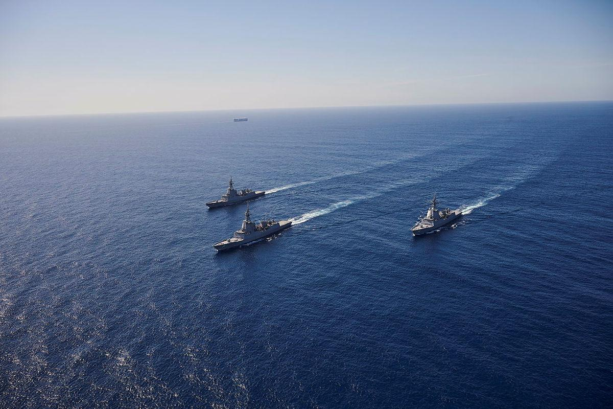 HMA Ships Hobart, Brisbane and Sydney conduct officer-of-the-watch manoeuvres in the Eastern Australian Exercise Area. Photo: Peter Beeh