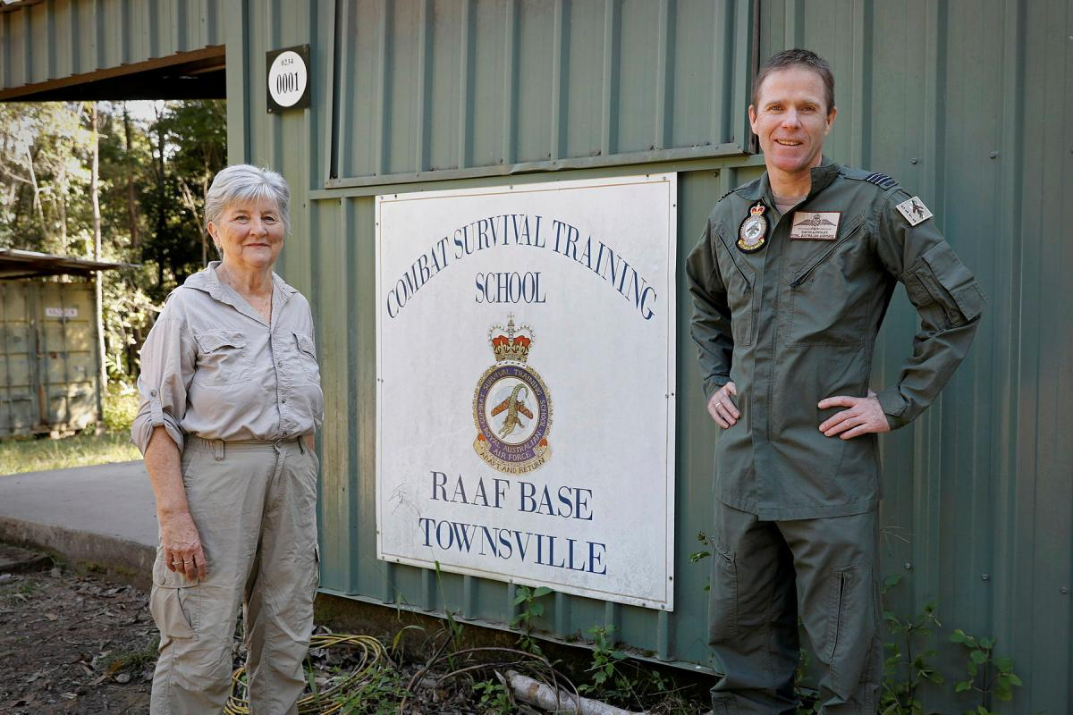 Commanding Officer Combat Survival Training School Squadron Leader Simon Longley with historian Lynette Silver, who has researched the World War II Sandakan death marches. Photo: Corporal Veronica O'Hara