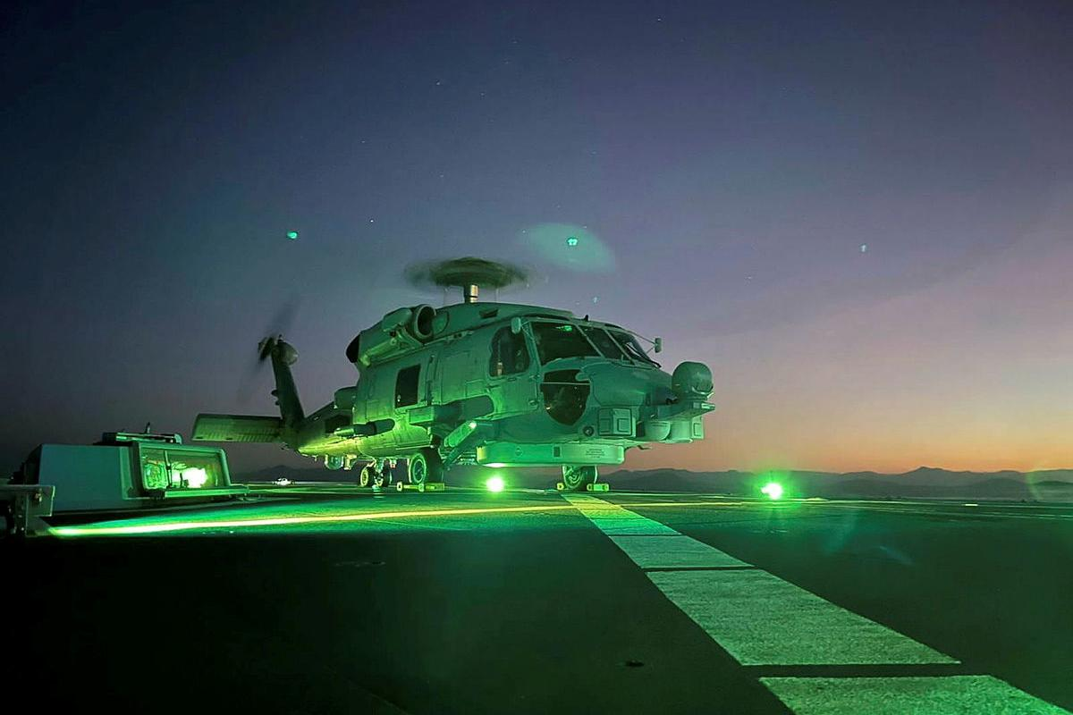 HMAS Parramatta's embarked MH-60R prepares to launch from the flight deck during Exercise Talisman Sabre.