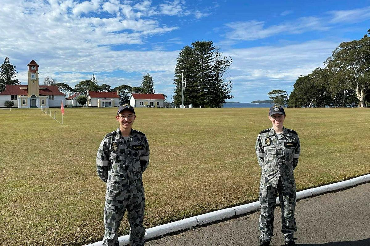 Navy Gap Year trainees Midshipman Ryan Rafferty and Midshipman Rebecca Wright at the Royal Australian Naval College HMAS Creswell in Jervis Bay, NSW.