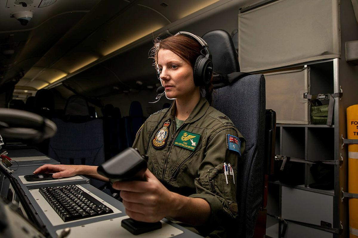 Sergeant Taryn Allen from No. 11 Squadron on board a P-8A Poseidon during Exercise Talisman Sabre 2021. Photo: Leading Aircraftwoman Emma Schwenke