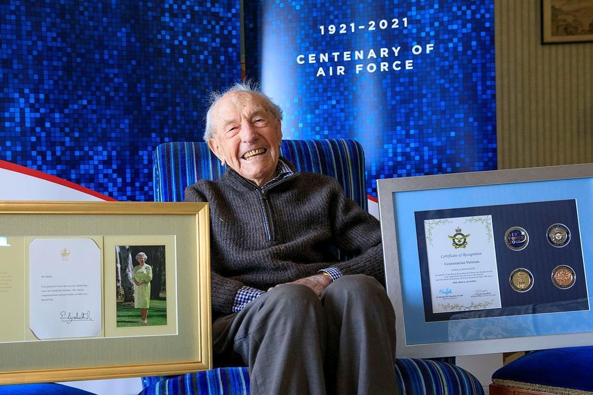 Alan Hastie with an Air Force 2021 Commemorative memento in celebration of his 100th birthday. Photo: Corporal Brett Sheriff