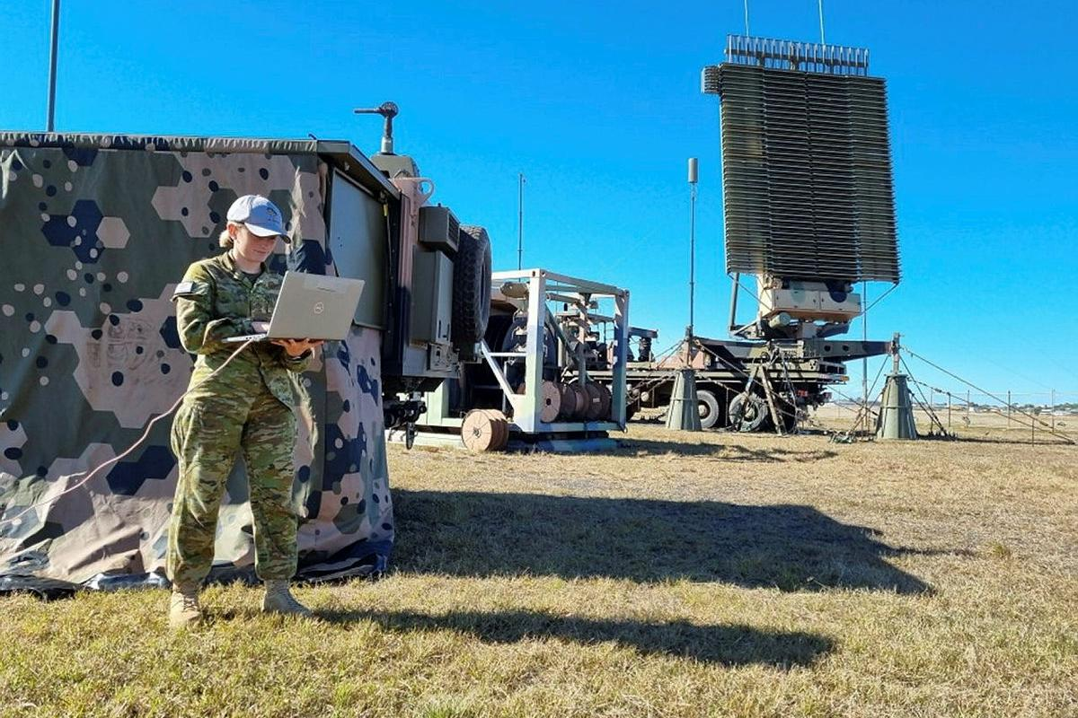 Air surveillance operator Leading Aircraftwoman Olivia Towns monitors communication systems for the No. 114 Mobile Control and Reporting Unit BlueJay system at Evans Head Memorial Airfield during Exercise Talisman Sabre.