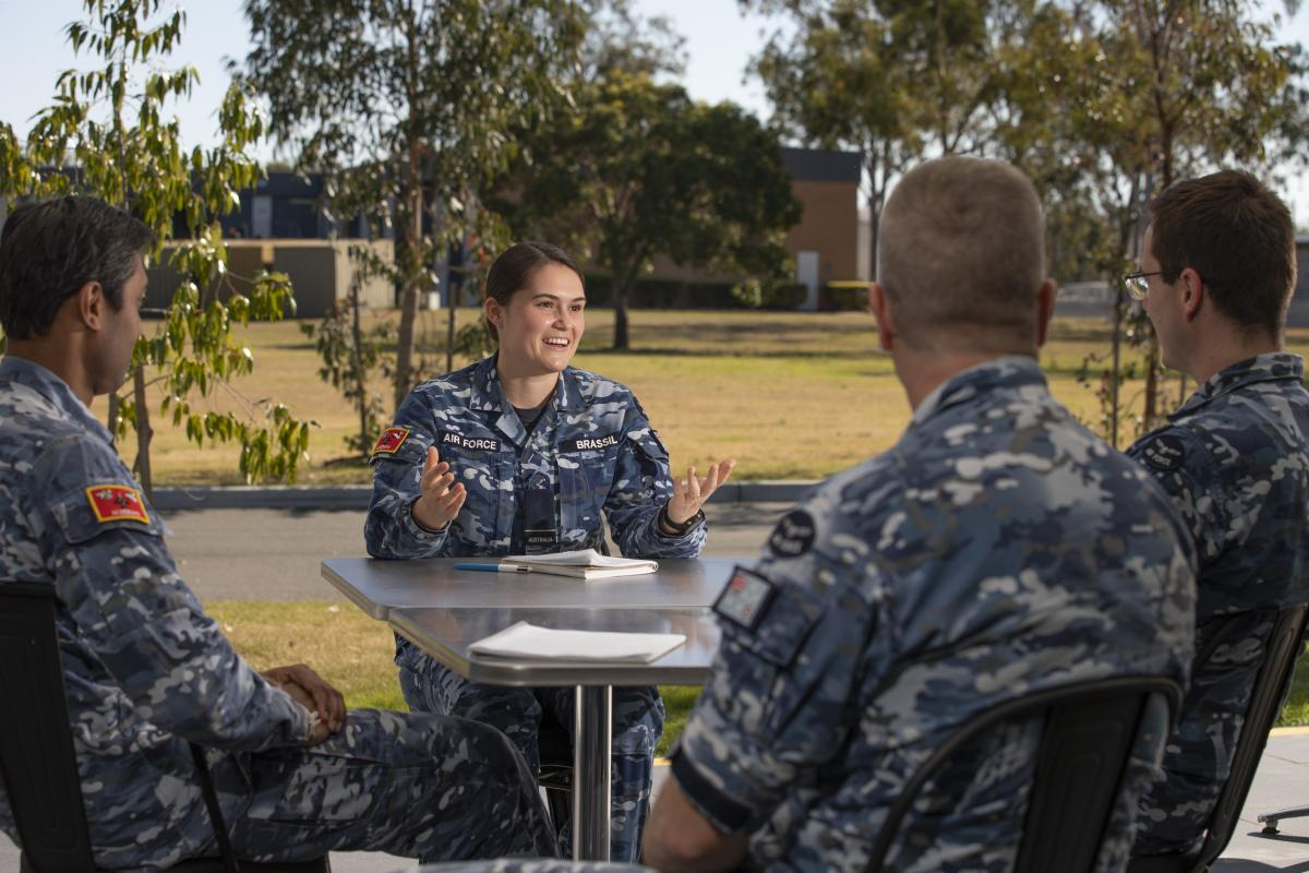 Flying Officer Maddison Brassil shares experiences with colleagues at RAAF Base Amberley, as part of the mentoring program. Photo: Corporal Jesse Kane
