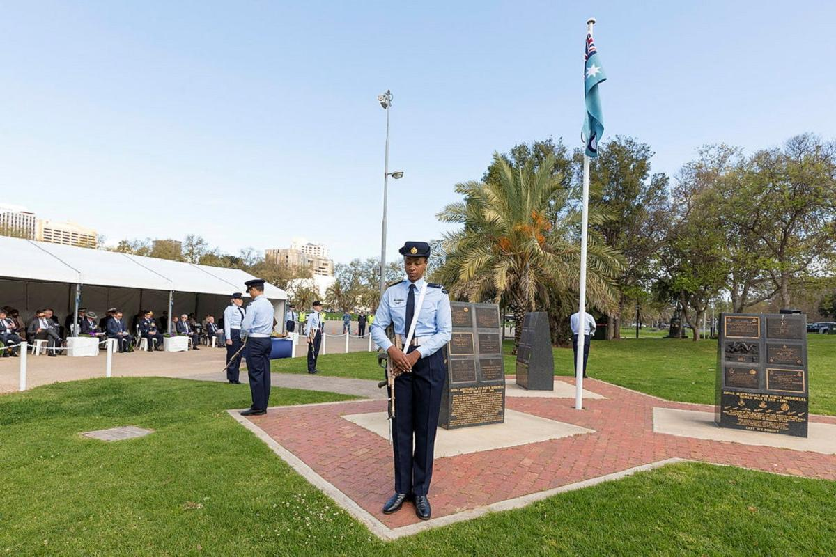 Air surveillance operators, from No. 1 Remote Sensor Unit, RAAF Base Edinburgh, make up the catafalque party for the Battle of Britain 2021 Commemoration held at Torrens Parade Ground, Adelaide. Photo: Leading Aircraftman Stewart Gould