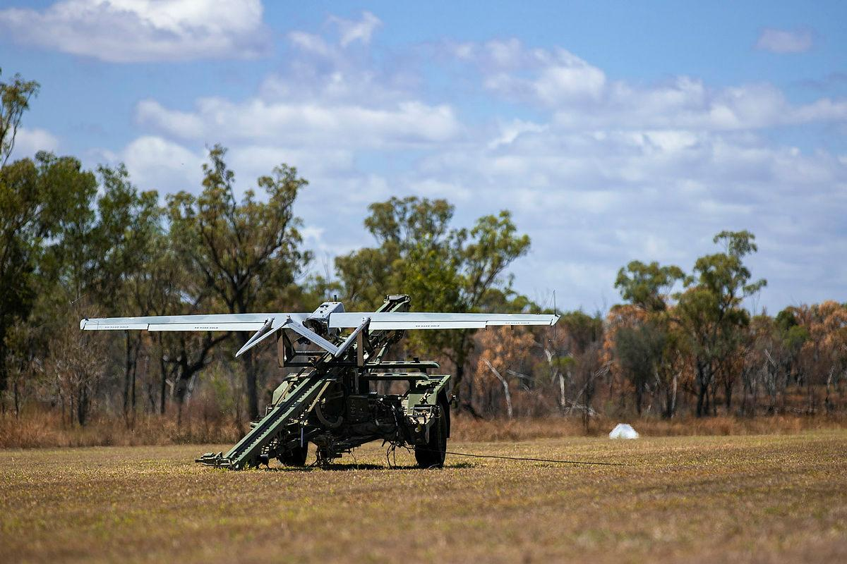A Shadow unmanned aerial system ready to be launched at the Townsville Field Training Area, Queensland. Photo: Corporal Nicole Dorrett