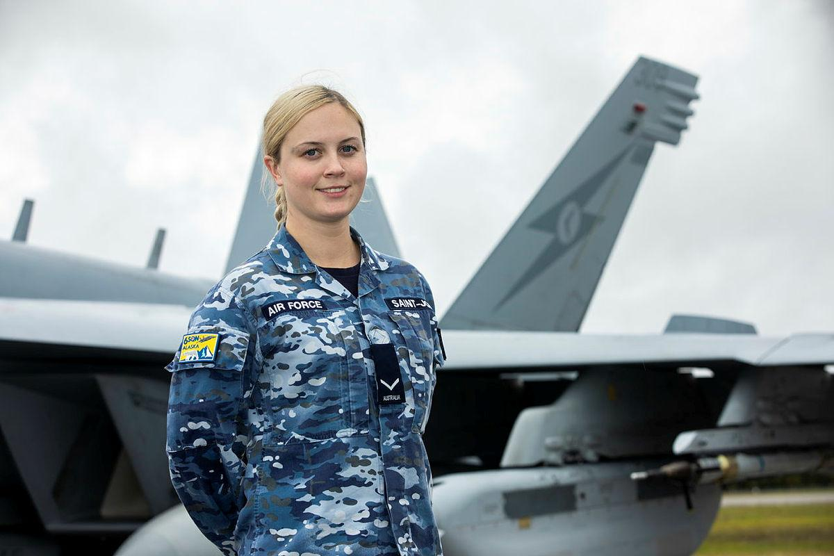 Leading Aircraftwoman Alexandra Saint-John, of No. 6 Squadron, with an EA-18G Growler aircraft on the flightline at Eielson Air Force Base in Alaska. Photo: Sergeant Rodney Welch