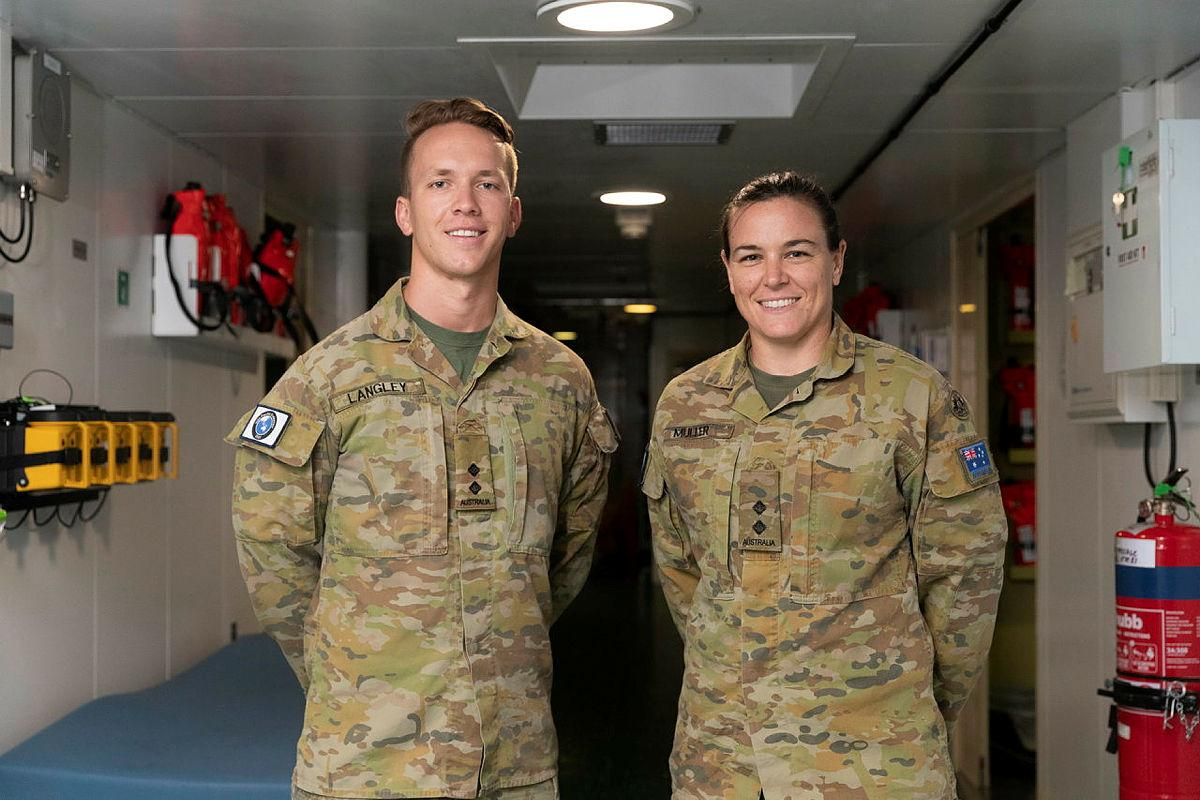 Army radiographer Lieutenant John Langley and physiotherapist Lieutenant Alison Muller in the health centre in HMAS Canberra during Indo-Pacific Endeavour 21. Photo: Leading Seaman Nadav Harel