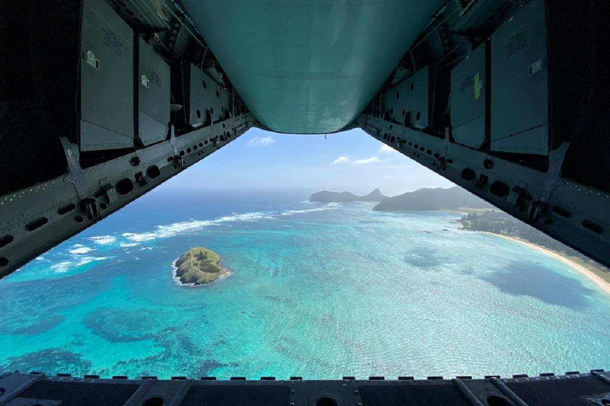 The view of Lord Howe Island from the back of an Air Force C-27J Spartan aircraft. Photo: Flying Officer Lily Lancaster