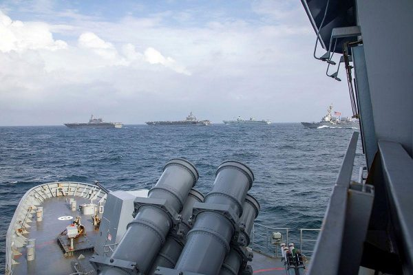 Ships and aircraft from the navies of Australia, Japan, the United Kingdom and the United States participate in trainingin the Indian Ocean during the Maritime Partnership Exercise. Photo: Leading SeamanErnesto Sanchez