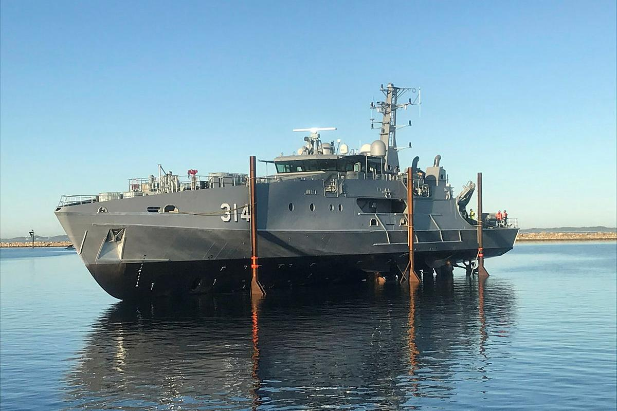 The first Evolved Cape-class patrol boat in the water after being launched. Photo: Austal