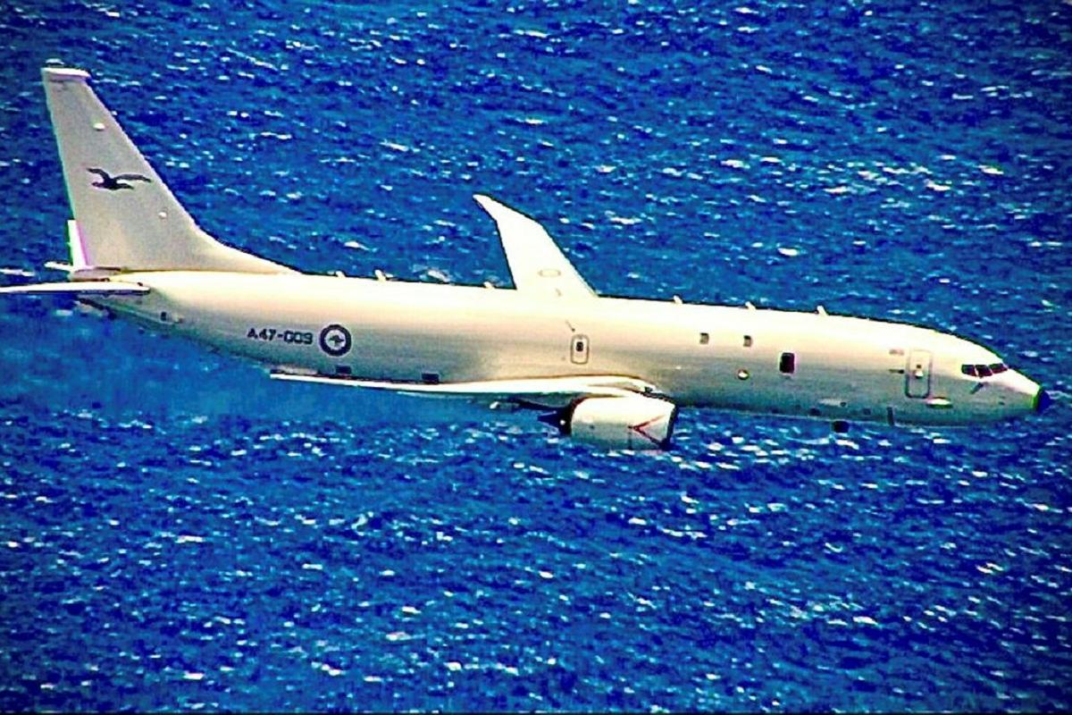 A RAAF P-8A Poseidon aircraft on a mission as part of Exercise Albatross Ausindo 21.
