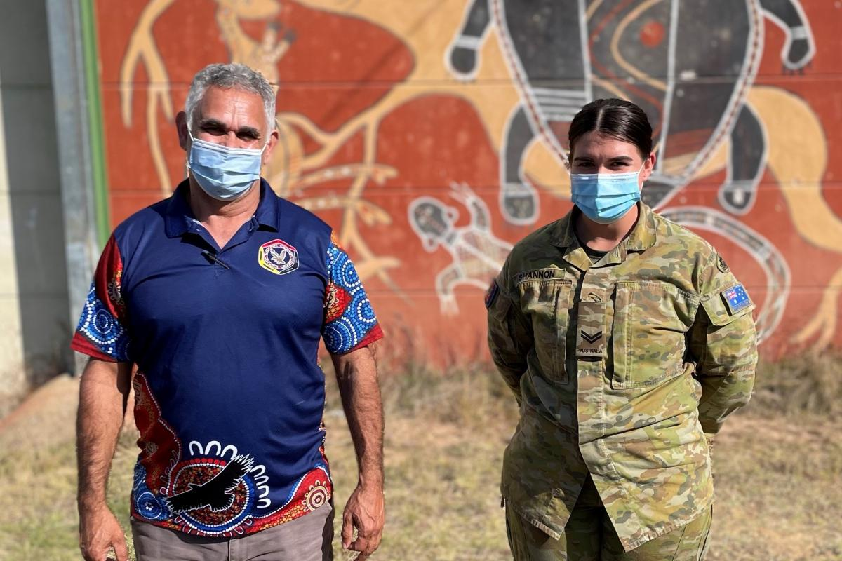 Aboriginal Community Liaison Officer with NSW Police, Uncle John Skinner, with Corporal Ashleigh Shannon, who were part of a remote vaccination teamin northern NSW.