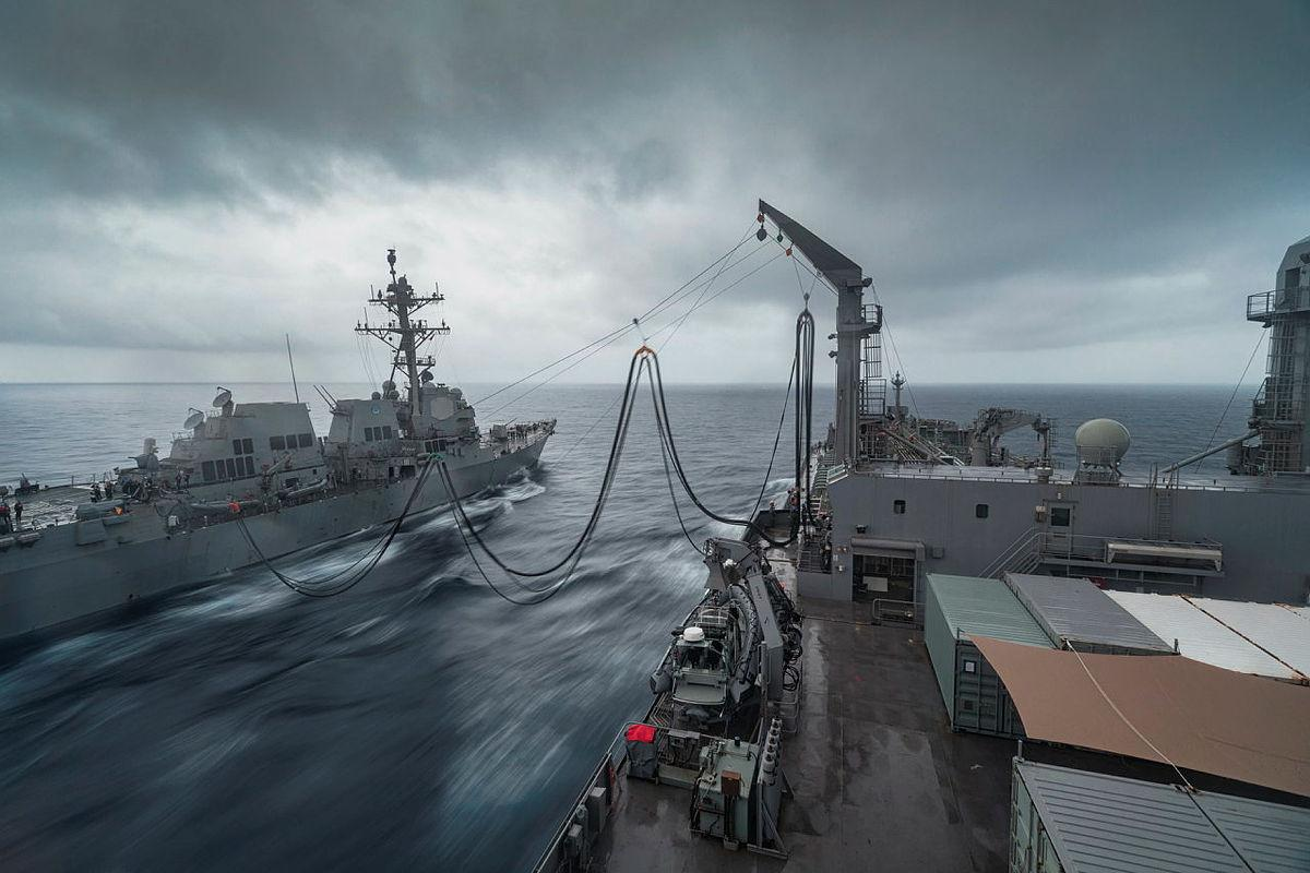 HMAS Sirius conducts a replenishment at sea with USS Stockdale during Indo-Pacific Endeavour 21. Photo: Leading Seaman Sittichai Sakonpoonpol