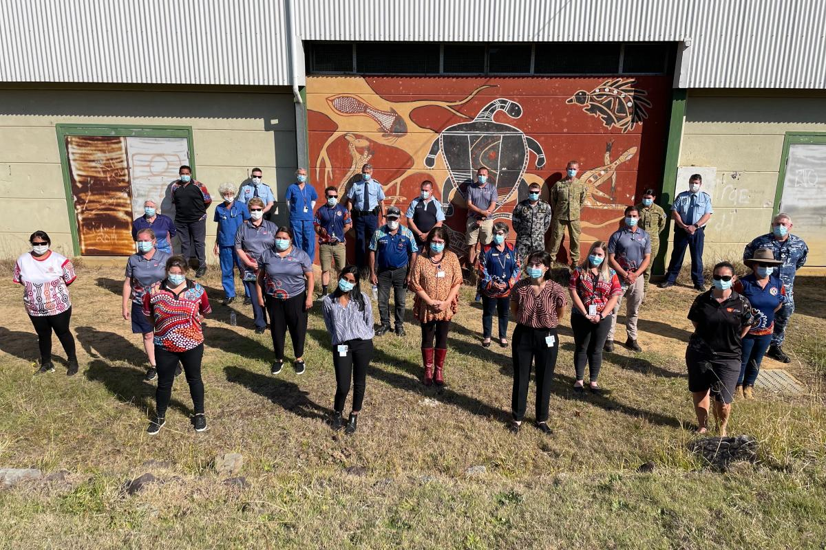 ADF personnel and other mobile vaccination team members from Bulgarr Ngaru Medical Aboriginal Corporation, Rekindling the Spirit, Bullinah Aboriginal Medical Service, Northern NSW Local Health District, and NSW Police ahead of the Northern NSW tour.