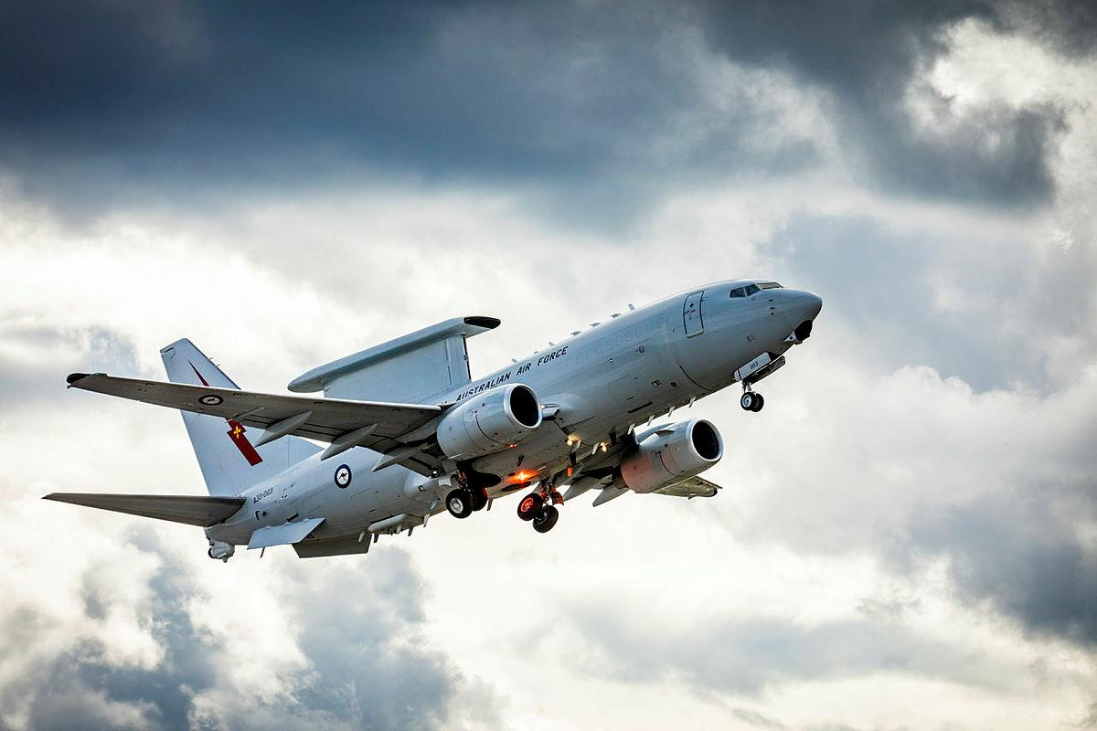 Royal Australian Air Force No. 2 Squadron E-7A Wedgetailtakes off at Eielson Air Force Base in Alaska, United States. Photo: Flying Officer Bronwyn Marchant